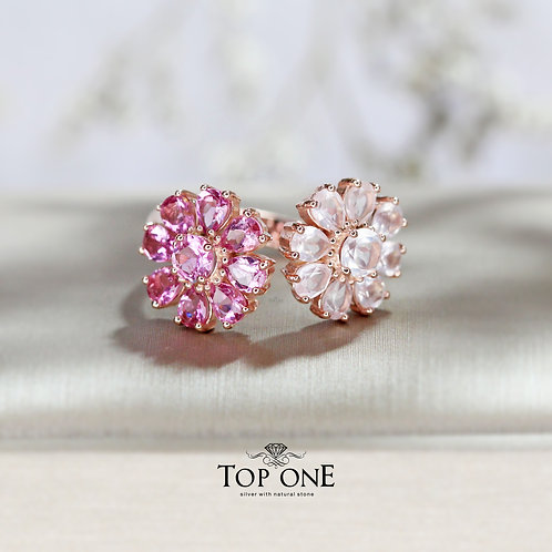 Daisy Natural Pink Tourmaline, Rose Quartz 925 Sterling Silver Ring