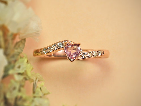 Natural Pink Tourmaline White Topaz 925 Sterling Silver Ring