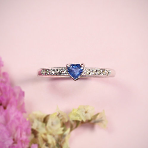 Natural Ceylon Blue Sapphire White Topaz 925 Sterling Silver Ring