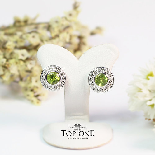 Natural Peridot  925 Sterling Silver Earring
