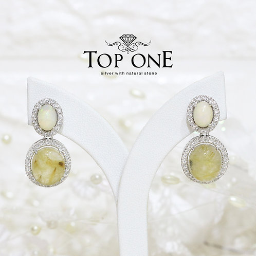 Natural Gold Rutile Opal White Topaz 925 Sterling Silver Earring
