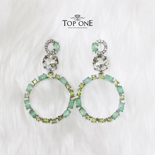 Natural Emerald Peridot Green Amethyst White Topaz 925 Sterling silver Earring