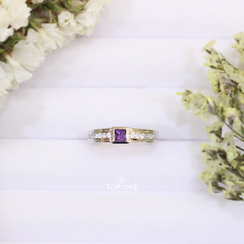 Natural Amethyst White Topaz 925 Sterling Silver Ring