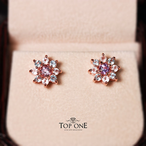 Natural Amethyst Blue Topaz Rose Quartz 925 Sterling Silver Earring