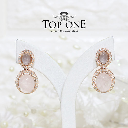 Natural Rose Quartz White Topaz 925 Sterling silver Earring