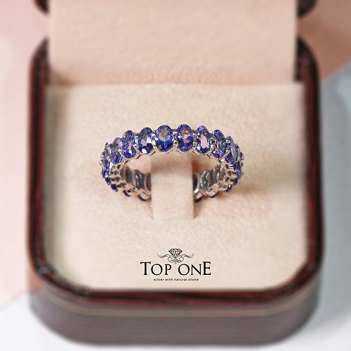 Natural Tanzanite 925 Sterling Silver Ring