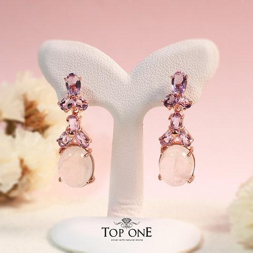 Natural Rose Quartz Amethyst 925 Sterling Silver Earring