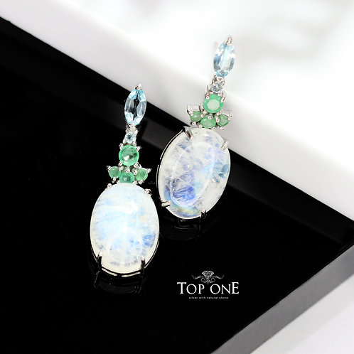Natural Rainbow Moonstone, Blue Topaz, Emerald 925 Sterling Silver Earring