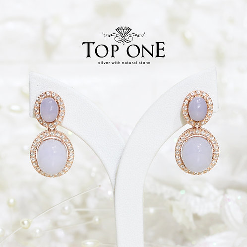 Natural Blue Chalcedony 925 Sterling Silver Earring