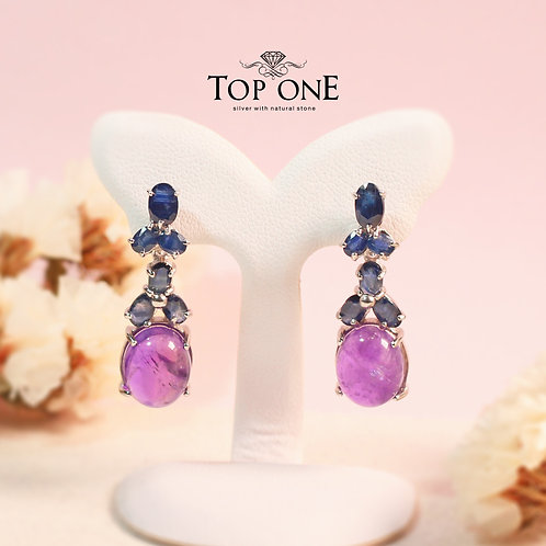 Natural Amethyst  Sapphire 925 Sterling Silver Earring