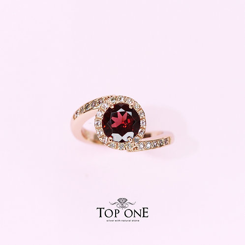 Natural Mozambique Garnet 925 Sterling Silver Ring