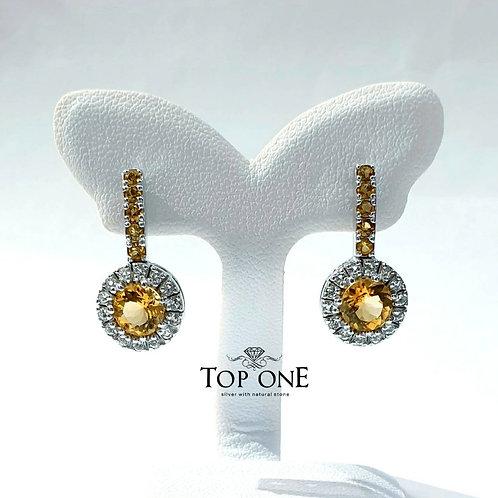 Natural Ctrine White Topaz 925 Sterling Silver Earring
