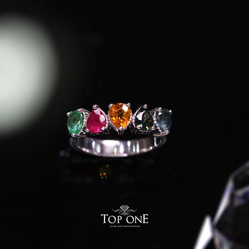 Natural Sapphire Emerald Ruby 925 Sterling Silver Ring