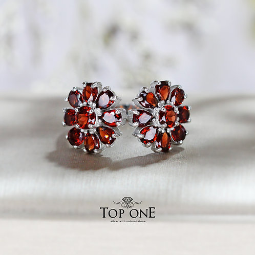Daisy Natural Mozambique Garnet 925 Sterling Silver Ring