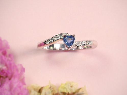 Natural Ceylon Blue Sapphire White Topaz 925 Sterling Silver Ring