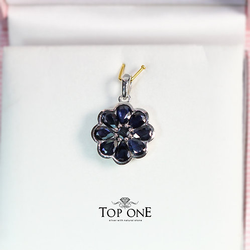 Natural Blue Sapphire 925 Sterling Silver Pendant