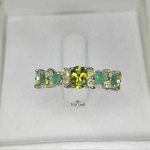 Natural Green Tourmaline Emerald Peridot 925 Sterling Silver Ring