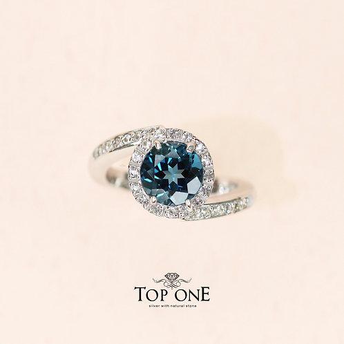 Natural Indigo London Blue Topaz925 Sterling Silver Ring