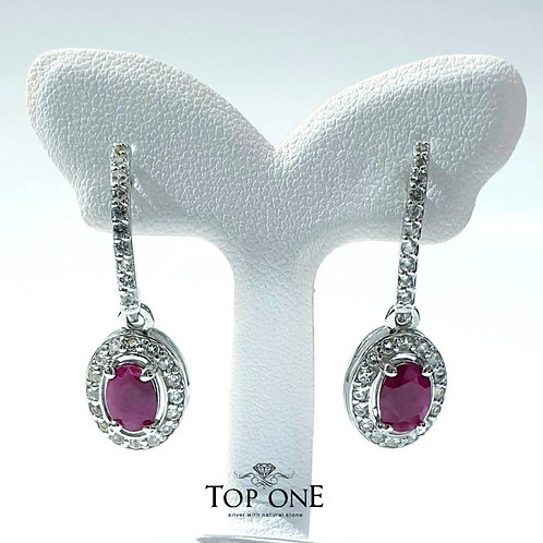 Natural Burmese Ruby 925 Sterling Silver Earring