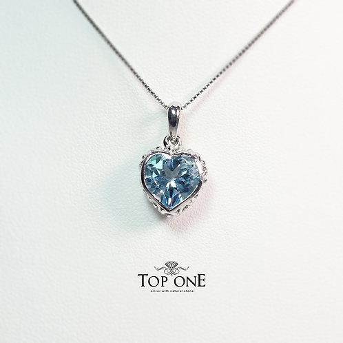 Bella Natural Blue Topaz 925 Sterling Silver Pendant