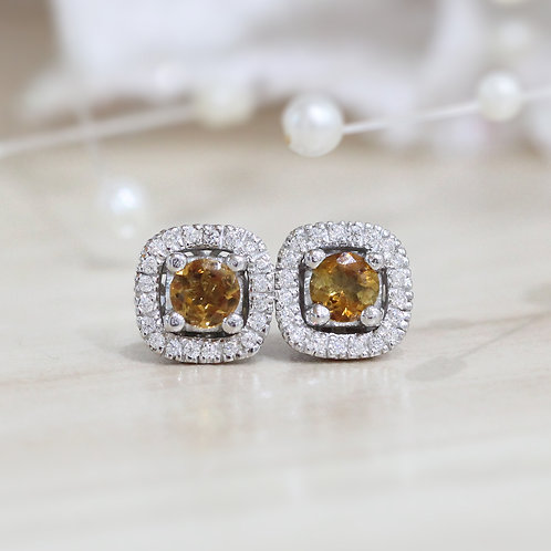 Natural Yellow Zircon 925 Sterling Silver Earring
