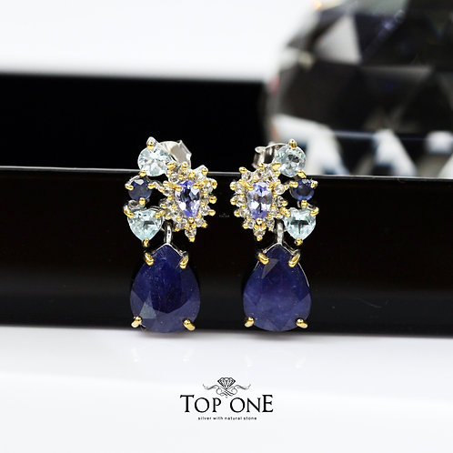 Natural Sapphire, Tanzanite  925 Sterling Silver Earring