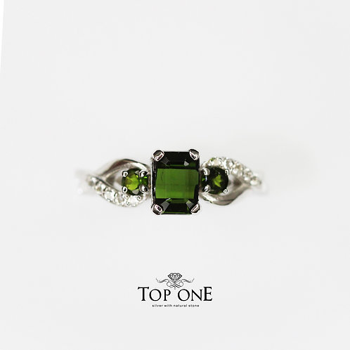 Natural Green Tourmailne 925 Sterling Silver Ring