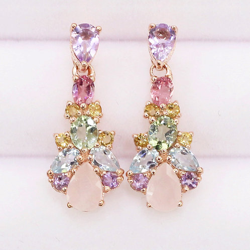 Natural Rose Quartz Amethyst  Blue Topaz Citrine Tourmaline 925 Silver Earring