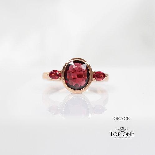 Genuine Garnet Sapphire 925 Sterling Silver Ring