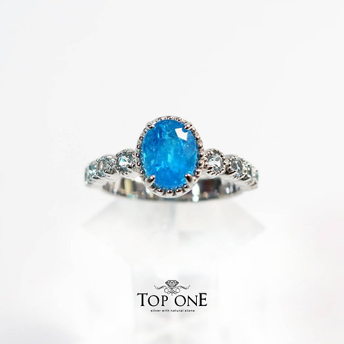 Natural Neon Blue Apatite 925 Sterling Silver Ring
