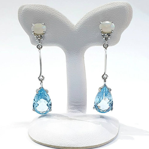 Natural Blue Topaz Opal 925 Sterling Silver Earring