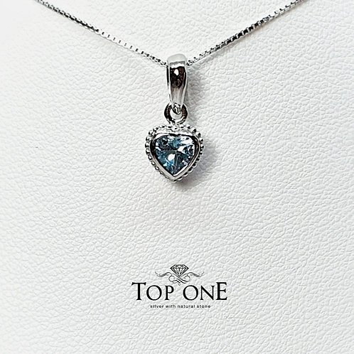 Cura Natural Blue Topaz 925 Sterling Silver Pendent
