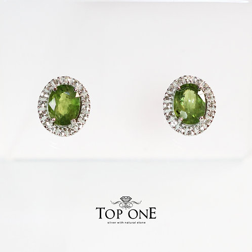Natural Green Sapphire 925 Sterling Silver Earring