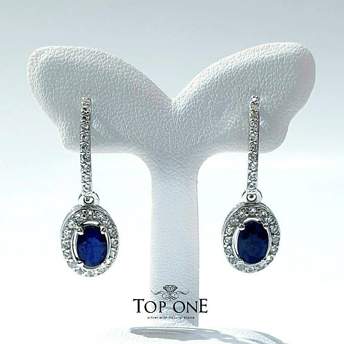 Natural Blue Sapphire 925 Sterling Silver Earring
