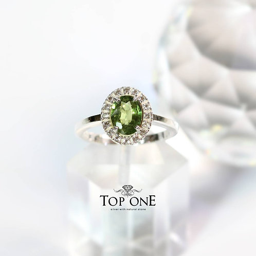 Natural Green Sapphire 925 Sterling Silver Ring