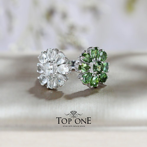 Daisy Natural Green Tourmaline, Green Amethyst 925 Sterling Silver Ring