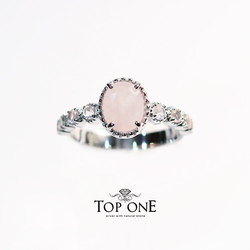 Natural Rose Quartz 925 Sterling Silver Ring