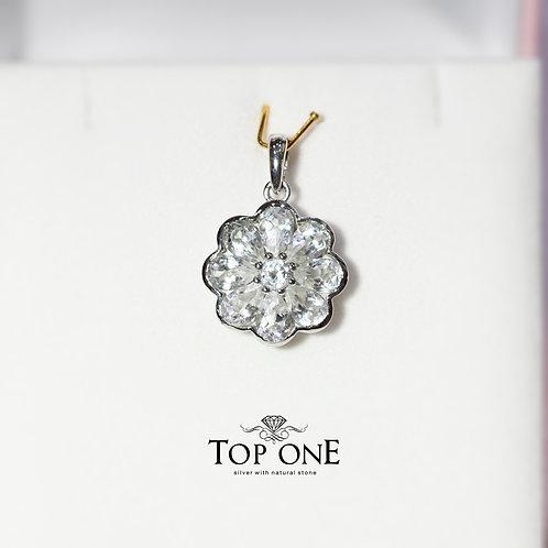 Natural White Topaz 925 Sterling Silver Pendant