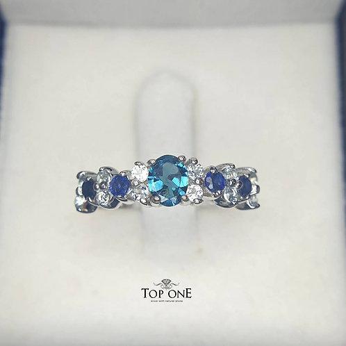 Natural Blue Tourmaline Blue Sapphire Blue Topaz 925 Sterling Silver Ring