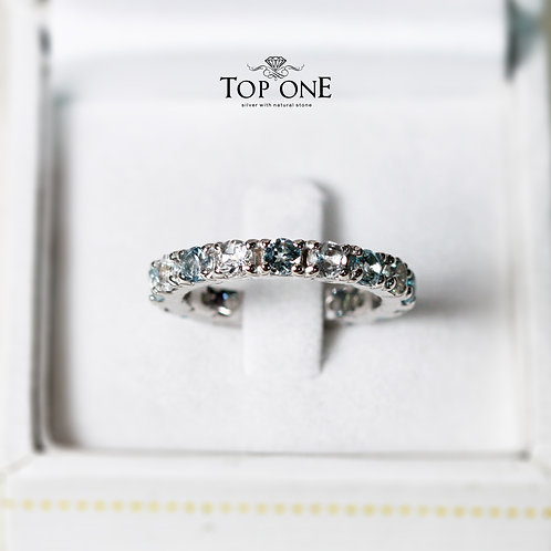 Ferris Natural Blue Topaz and White Topaz 925 Sterling Silver Ring