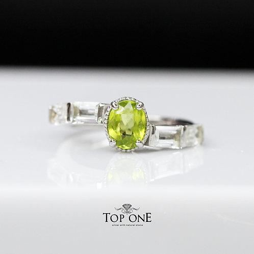 Natural Green Sphene 925 Sterling Silver Ring