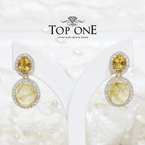 Natural Gold Rutile Citrine White Topaz 925 Sterling Silver Earring