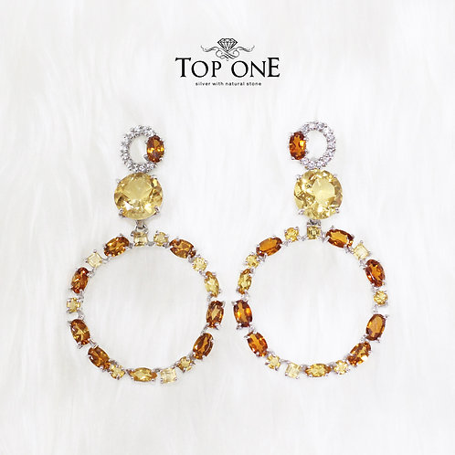 Natural Yellow Tourmaline Citrine White Topaz 925 Sterling Silver Earring