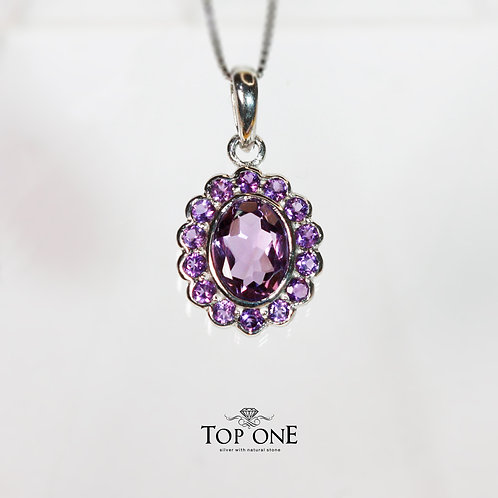 Natural Amethyst 925 Sterling Silver Pendant