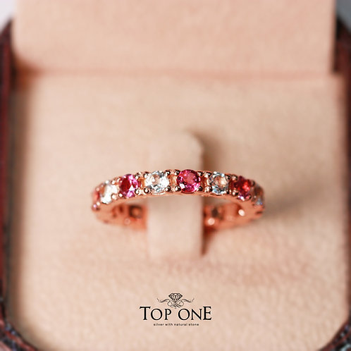 Ferris Natural Pink Tourmaline White Topaz 925 Sterling Silver Ring