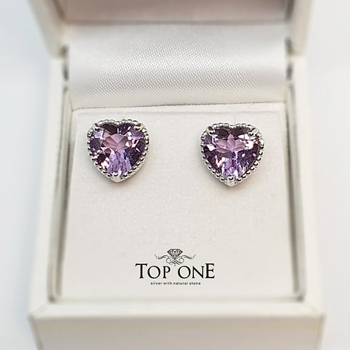 Oro Natural Amethyst 925 Sterling Silver Earring