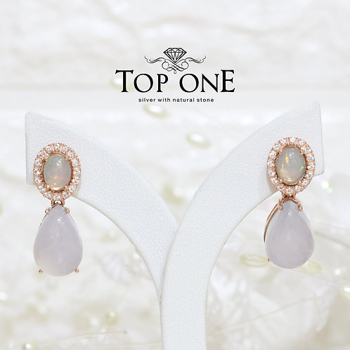 Natural Chalcedony Opal White Topaz 925 Silver