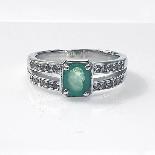 Natural Emerald White Topaz 925 Sterling Silver Ring