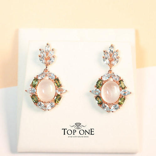Natural Rose Quartz Green Tourmaline Blue Topaz 925 Sterling Silver Earring