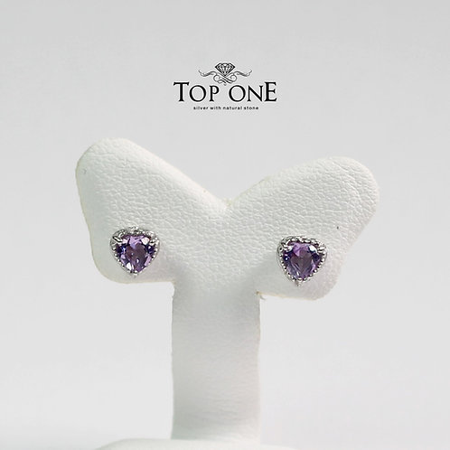 Carina Natural Amethyst 925 Sterling Silver Earring